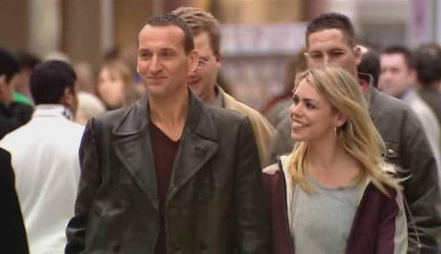 """Rose lifts up the Ninth Doctor's spirits in """"The End of the World."""" Photo: BBC"""