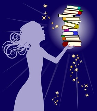 Woman holding books; concept of knowledge; A Vindication of the Rights of Readers