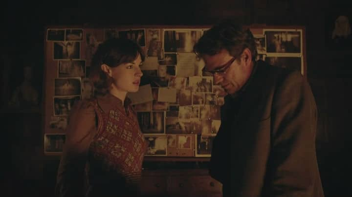 """Emma asks the Professor to read her thoughts from season seven's Hide. Romantic Moment of the Week - Doctor Who and """"Hide"""" Photo: BBC"""