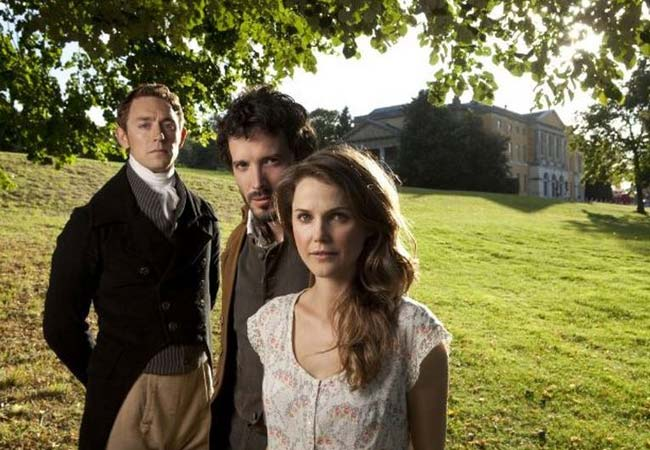 J.J. Feild (Mr. Nobley), Bret McKenzie (Martin), and Keri Russell (Jane) in Austenland. Photo: Sony Pictures and Fickle Fish Films; Austenland: Hilarious Romantic Comedy That Will Make You Believe in Love