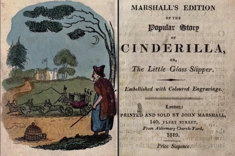 Picture: Title page and frontispiece of John Marshall's edition of Cinderella, 1819.
