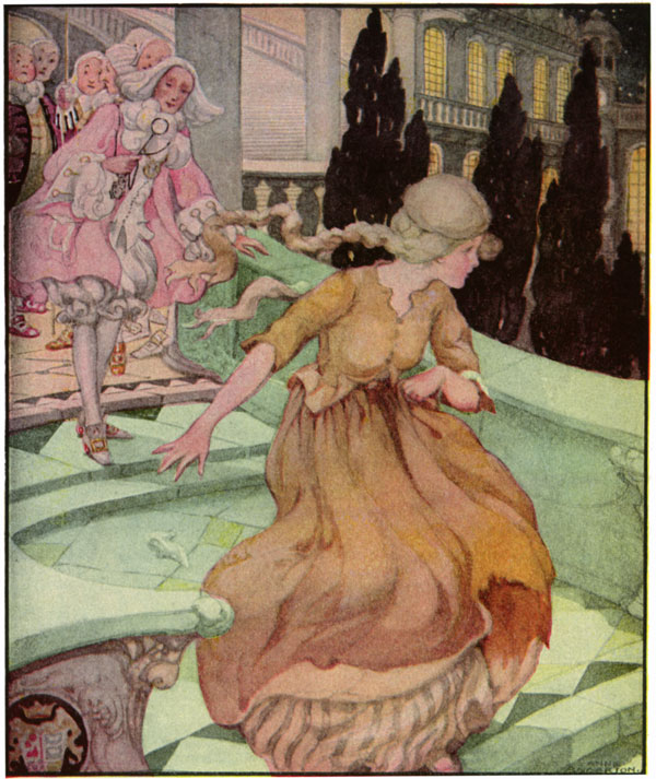 """Picture: Old, Old Fairy Tales: """"Cinderella"""". She lost her slipper as she ran from the castle... AuthorAnne Anderson (1874-1930)"""