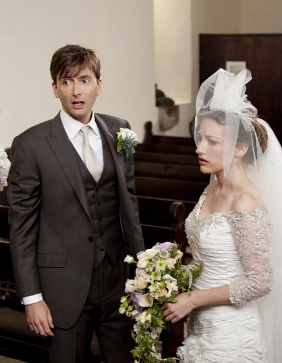 James Neil Arber (David Tennant) and Katie Nic Aoidh (Kelly Macdonald) in The Decoy Bride Photo: Isle of Man Film