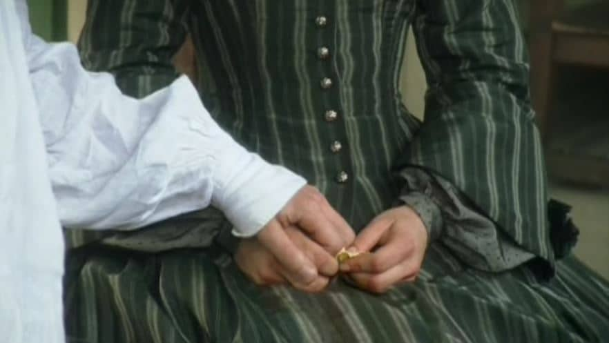 Mr. Thornton grabs her hand at the end of the mini-series. Photo: BBC