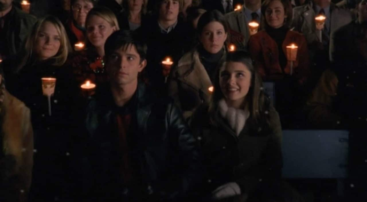 """Liz and Max celebrating Christmas together in """"A Roswell Christmas Carol."""""""
