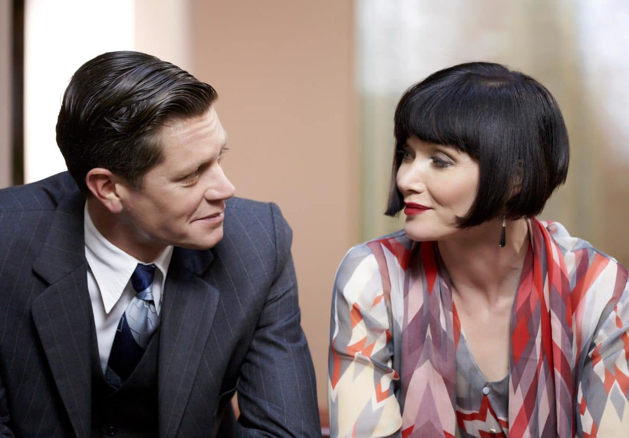 Detective Jack Robinson (Nathan Page) and Miss Phryne Fisher (Essie Davis).  Photo: Acorn