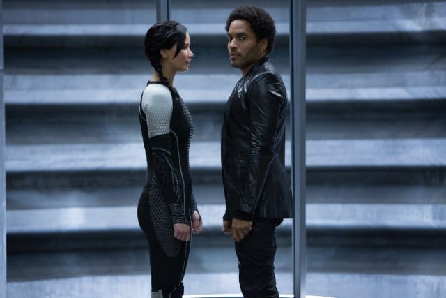 Lenny Kravitz and Jennifer Lawrence in The Hunger Games: Catching Fire Photo: Lionsgate