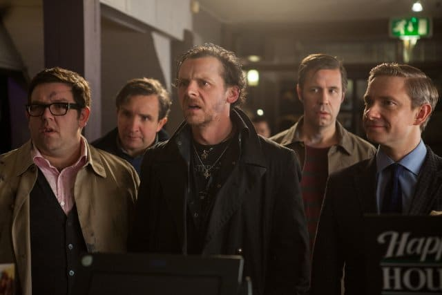 Paddy Considine, Martin Freeman, Simon Pegg, Nick Frost, and Eddie Marsan in The World's End Photo: Focus Features