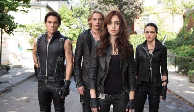 Jemima West, Kevin Zegers, Jamie Bower, and Lily Collins in The Mortal Instruments: City of Bones Photo: Sony Pictures
