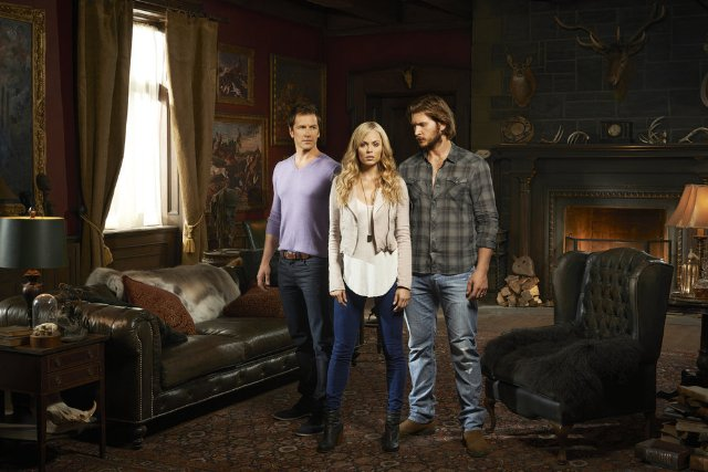 Laura Vandervoort, Paul Greene and Greyston Holt in Bitten. Photo: SyFy