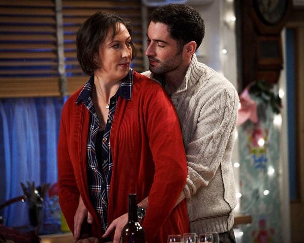 Gary and Miranda almost kiss in the BBC's comedy series Miranda.