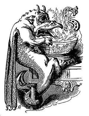 A dragon playing Snap-Dragon. Photo: Robert Chambers' Book of Days