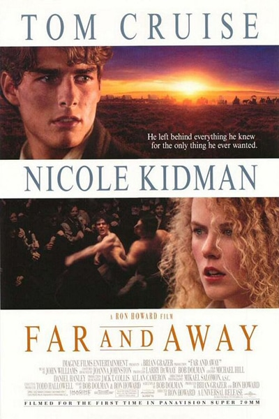 Far and Away movie poster featuring Nicole Kidman and Tom Cruise.