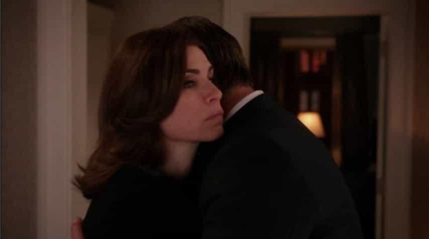 Alicia and Peter hug no emotion