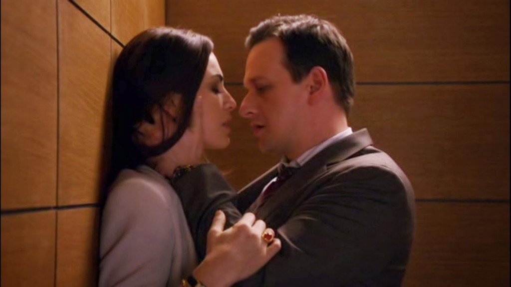 """Will and Alicia share their """"moment"""" in an elevator."""