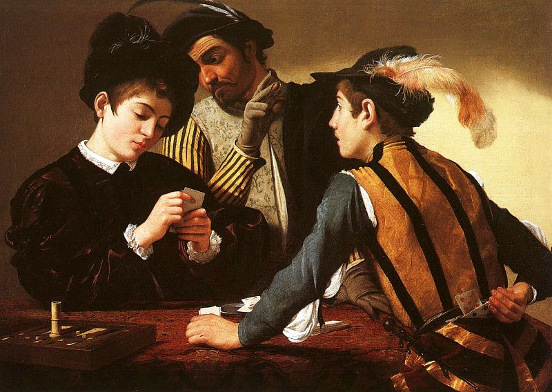 The Cardsharps by Caravaggio, oil on canvas, circa 1594