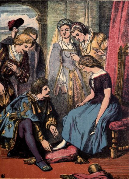 The sixth illustration of the 1865 edition of Cinderella via Public Domain