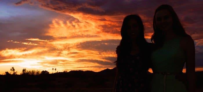 Lead actors (L-R) Liana O'Boyle and Nikki Gallagher on location in Harcuvar, AZ.