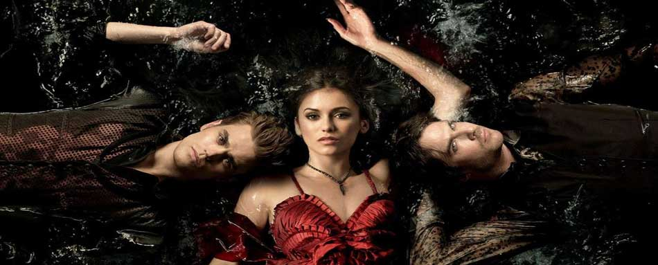"""Damon, Elena, and Stefan from """"The Vampire Diaries."""" Photo: The CW"""