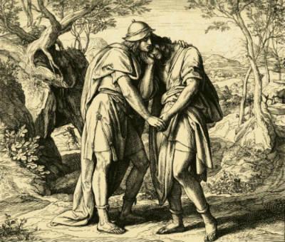 Jonathan Lovingly Taketh His Leave of David by Julius Schnorr von Carolsfeld.