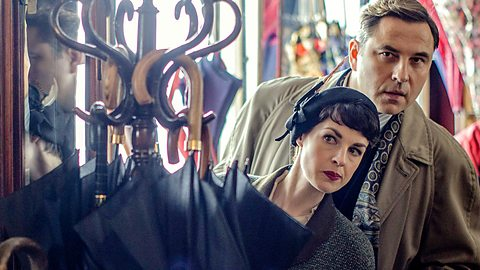 Jessica Raine and David Walliams as Tommy and Tuppence. Photo credit: BBC One.