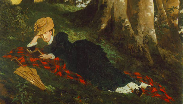 """Reading Woman in the Forest"" by Gyula Beczur (1875)"