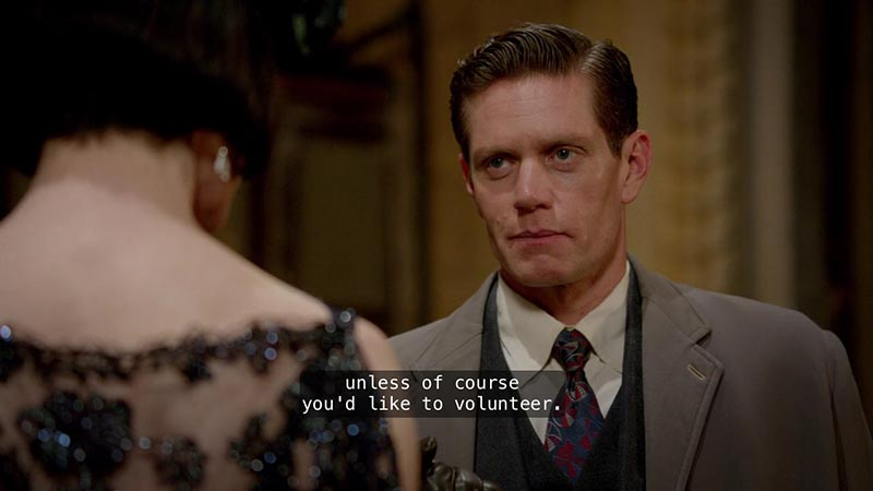 I am including this photo because I love when Jack tries not to smile at Miss Fisher. Heheheh.