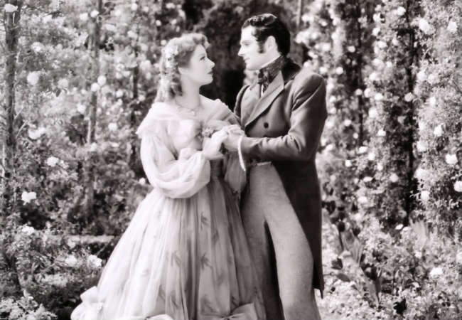 Greer Garson as Elizabeth Bennet and Laurence Olivier as Mr. Darcy in the 1940 adaptation of Pride and Prejudice.