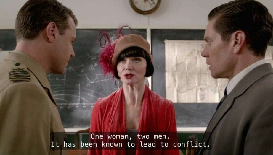 Miss Fisher casually discusses love triangles with her personal love triangle.