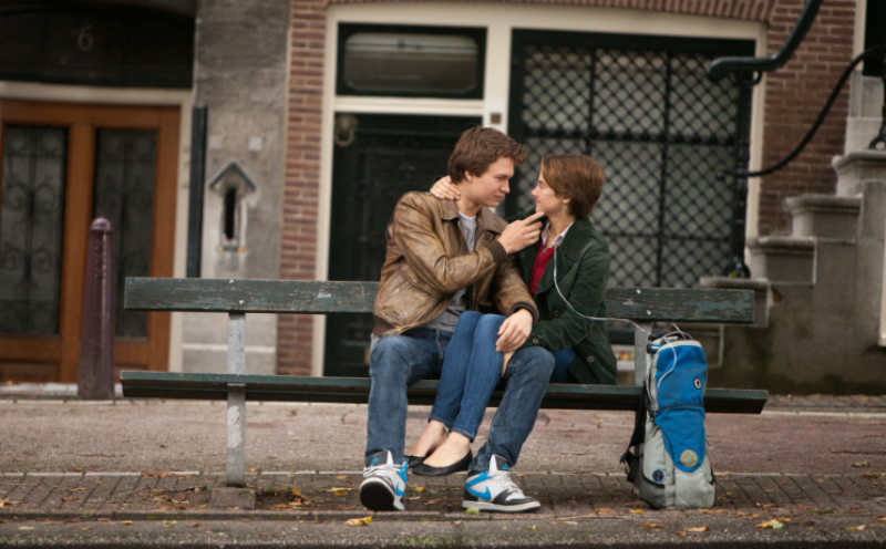 """Gus (Ansel Elgort) and Hazel (Shailene Woodley) in a scene from """"The Fault in Our Stars"""" 