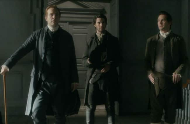 John Hancock, Sam Adams, and John Adams in Sons of Liberty