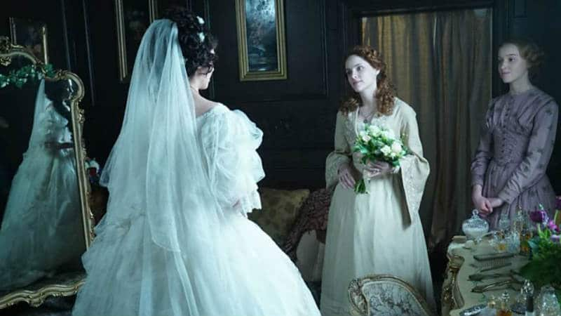Amelia Havisham (Tuppence Middlton) prepares for her wedding day with her friend, Honoria Barbary (Sophie Rundle). Dickensian.