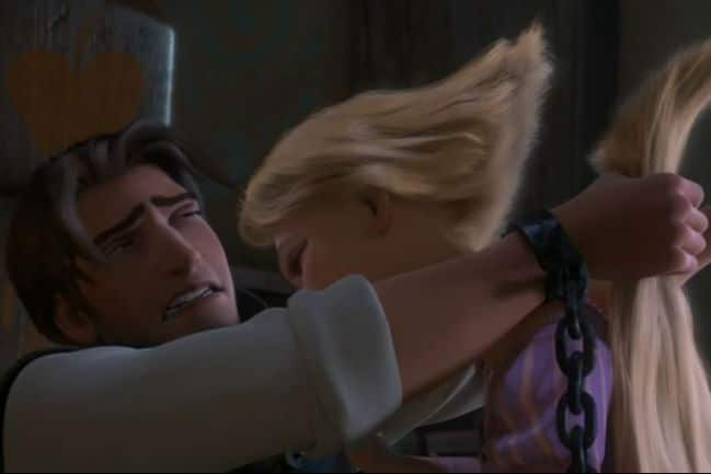 Flynn Cuts Rapunzel's Hair PhotoL Disney