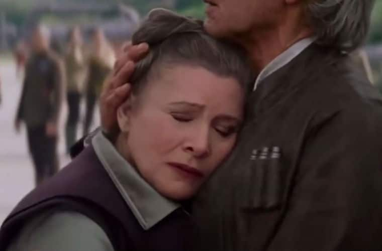 Han Solo and Princess Leia in Star Wars: The Force Awakens. Photo: Disney