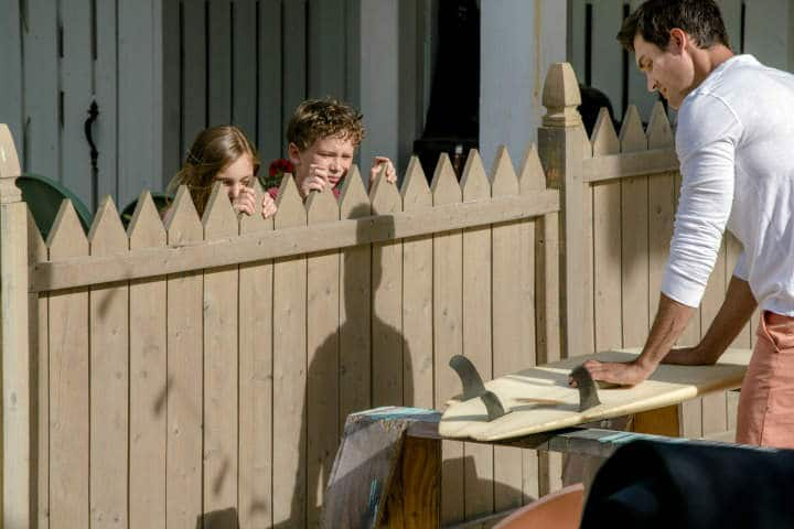 Jenna's curious kids pepper Lucas with questions! - Love at the Shore (2017) Hallmark Review – Sun, Sand and Romance Creates Family Bonds | The Silver Petticoat Review