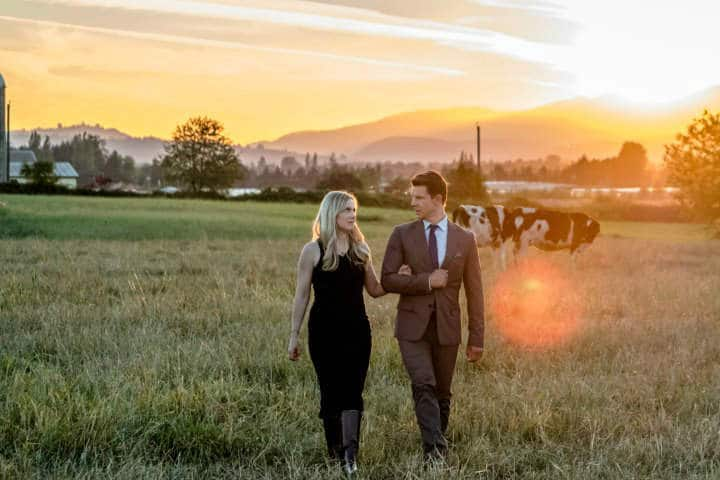 Shane and Oliver share a romantic stroll in Hallmark's 'Home Again'
