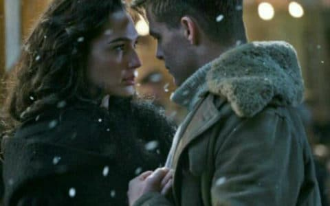 "Diana Price and Steve Trevor; Steve teaches Diana to ""sway"" in ""Wonder Woman"""