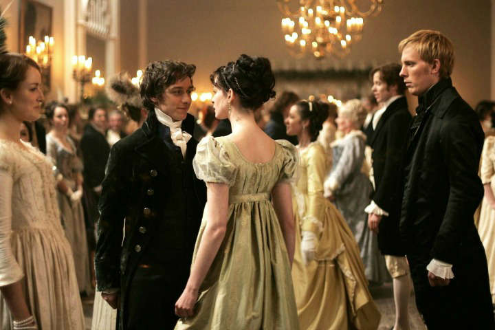 Becoming Jane promotional image with Anne Hathaway and James McAvoy dancing.