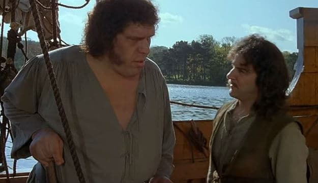 Andre the Giant and Mandy Patinkin as Fezzick and Inigo Montoya in The Princess Bride