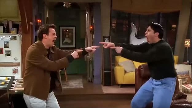Matthew Perry and Matt LeBlanc as Chandler and Joey in Friends