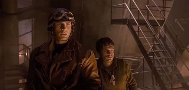Chris Evans and Sebastian Stan as Steve Rogers and Bucky Barnes in Captain America