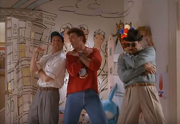 Steve Guttenberg, Ted Danson & Tom Selleck in Three Men and a Baby