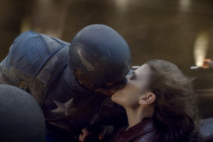 Steve and Peggy kiss in Captain America: The First Avenger. Romantic Moment of the Month: 'Avengers: Endgame' - Who Did Peggy Carter Marry?
