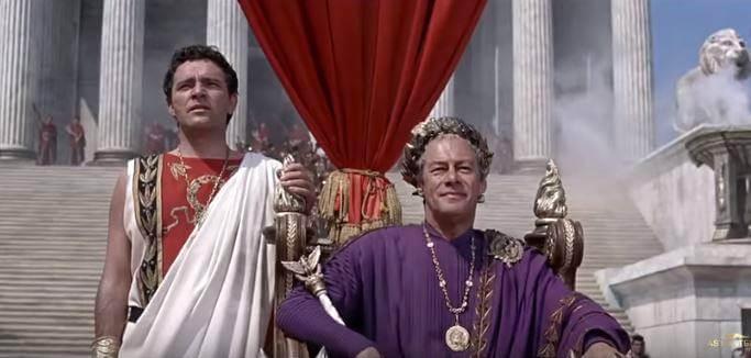 Richard Burton and Rex Harrison as Marc Antony and Julius Caesar