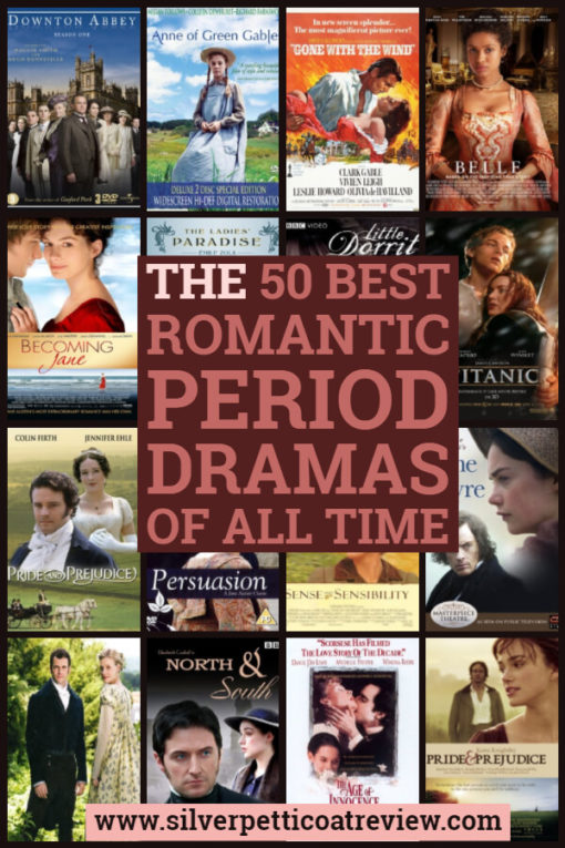 The 50 Best Romantic Period Dramas of All Time (2014). These were our favorite period dramas with romance.  #PeriodDramas #RomanticPeriodDramas #List #PrideandPrejudice #Britishshows #NorthandSouth