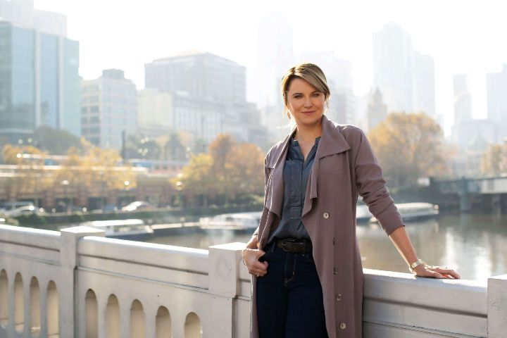 Lucy Lawless in a promotional image of My Life is Murder