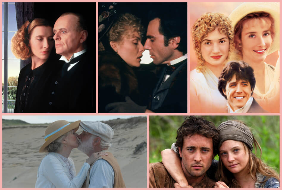 Collage of promotional images including The Remains of the Day, Age of Innocence, Sense and Sensibility, The Lightkeepers, and Mary Bryant