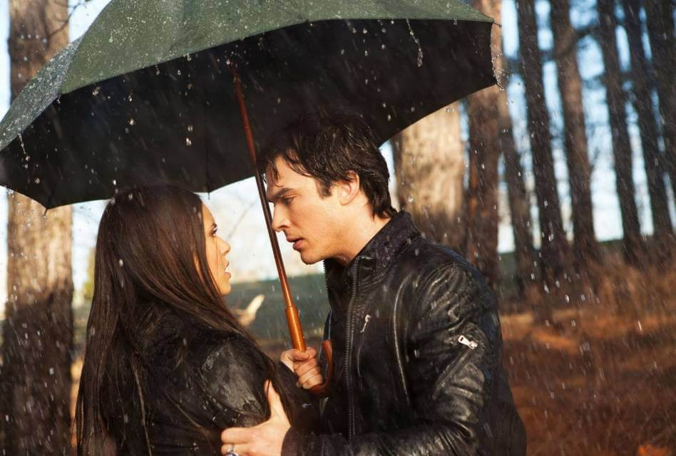 Damon and Elena in The Vampire Diaries.