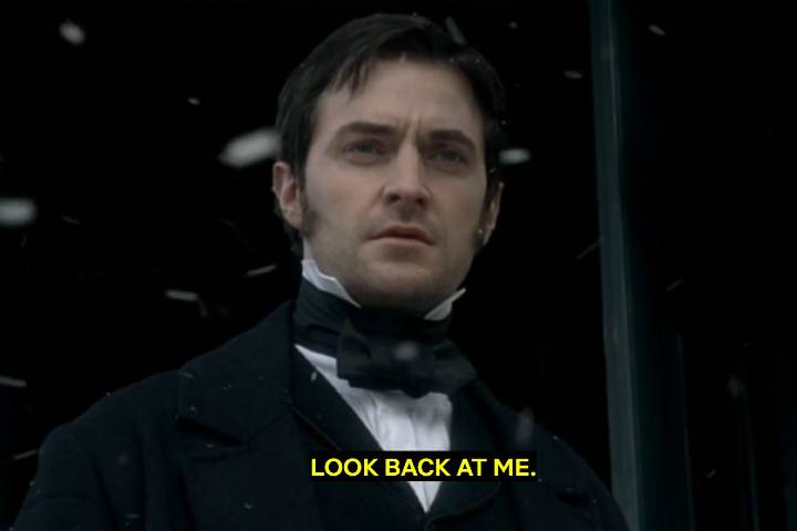 "North and south romantic scene. ""Look back at me."""