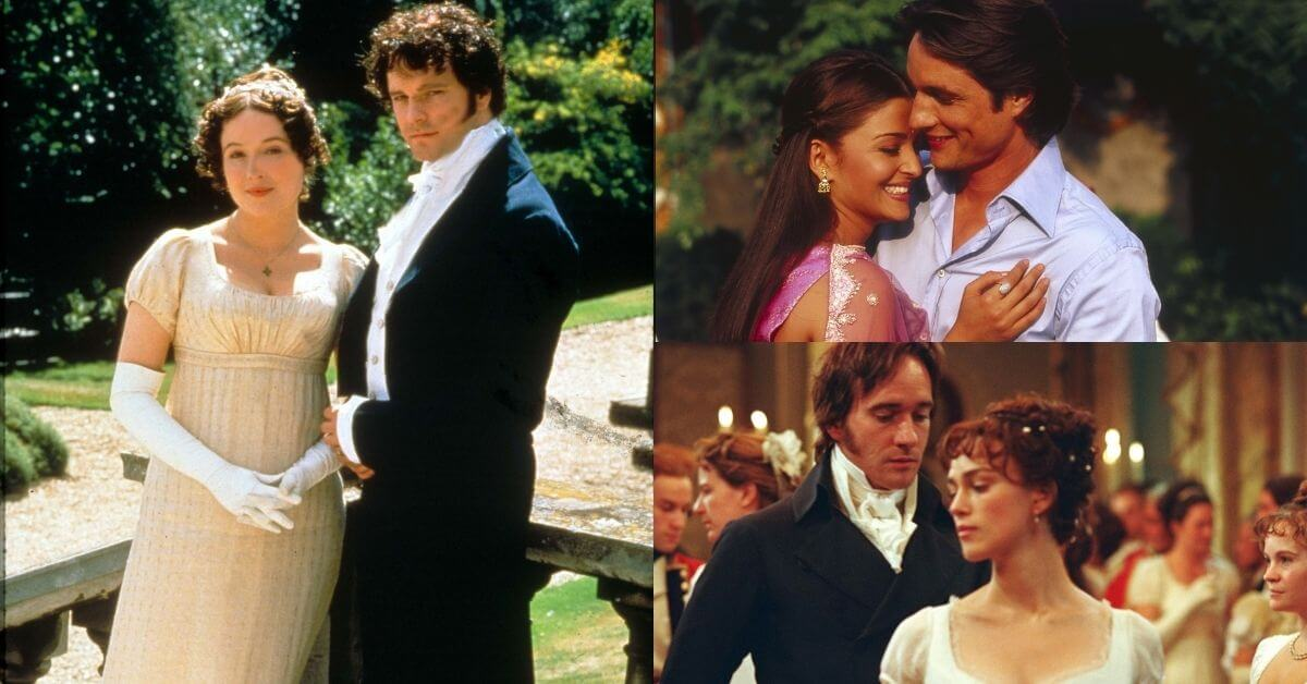 pride and prejudice adaptations featured image; collage of three different adaptations